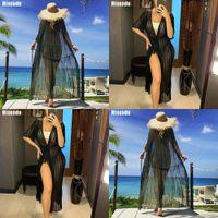 Riseado 2021 Pareo Playa Túnica Bikini Cover Ups Long Beach Dress Swimwear Traje de baño Medio Manga Traje de baño Sexy Trajes de baño Mujeres Q1222