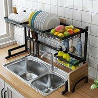 Freier Verschiffen Hersteller Großhandel Edelstahl über Waschbecken Teller Trocknung Rack Drainer Küche Besteck Regal 2-Tier