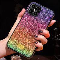 그라디언트 반짝이 프리미엄 라인 석 케이스 럭셔리 디자이너 여성 방어 전화 케이스 아이폰 12 11 프로 XR XS 최대 8 전화 뒷 표지