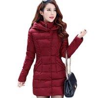 Куртка женская вина красный M-3XL плюс размер с капюшоном Parkas 2021 осень зима новая мода стройная длинная толстая тепло