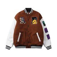 Contraste Cor Letter Bordado Oversize Wadded Jacket Homens e Mulheres Streetwear Harajuku Grosso Parkas soltas Casual Casaco de Inverno