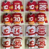 Calgary Flames 14 Teoren Fleury Buz Hokeyi Formalar Erkekler 25 Joe Nieuwendyk 30 Mike Vernon 39 Doug Gilmour Kırmızı Beyaz Vintage