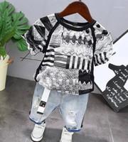Kinder kleine Jungen Kleidung Sets 2020 Sommer Mode Kleinkind Kind T-Shirt Denim Jeans Shorts Kleidung Outfit für 2 3 4 5 6 Jahre1