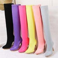 2020 Talla grande 32-48 Mujeres Fetiche sobre las botas de la rodilla 9.5 cm Tacones altos Stiletto Púrpura Púrpura Largo Muslo Botines de Melocotón Rojo Zapatos1