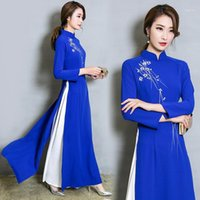 Vietnam Ao Dai Patchwork vestido apretado para mujer vestidos tradicionales chinos Qipao Cheongsams Flor Femenino Outfits oriental1
