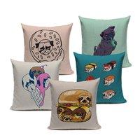 Pug perro caliente venta moderno arte hamburguesa helado de manera funda de almohada cubierta encantadora cojín cubierta sofá decoratove almohada caja de almohada personalizada