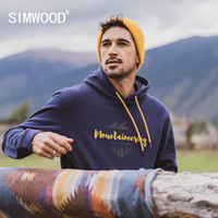 SIMWOOD Autumn winter new hooded hoodies 100% cotton letter ...