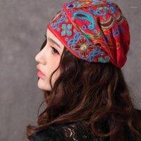 Chapéus de Brim Pedidos Hooh Mulheres Embroidery Fedoras Mexican Vintage Turbante Tampão Étnico Impressão étnica para Acessórios1