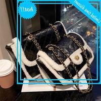 الديك سكوير Crossbody TAS 2021 شتاء جديد جودة عالية PU تعلم المرأة حقيبة يد مصمم pluche سلسلة الكتف رسول حقيبة