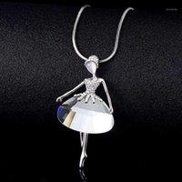 قلادة القلائد العصرية الباليه راقصة معلقة قلادة الذهب الفضة اللون طويل سترة سلسلة كبيرة الزجاج الأفعى خمر امرأة مجوهرات 1