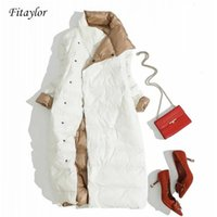 Fitaylor Plus Size Women Double Sided Down Long Jacket White...