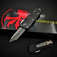Microtech Mini Troodon-M Coltello automatico Pietra lavato D2 Acciaio T6-6061 Aviazione Maniglia in lega di alluminio Maniglia tasca coltelli da tasca da campeggio EDC Strumento