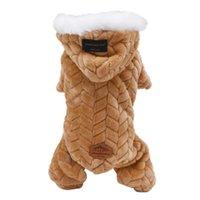 Abbigliamento per cani per animali invernali Tuta da quattro gambe tuta con grande collo di pelliccia addensa abbigliamento per animali domestici per teddy cani costume
