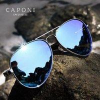 Caponi 블루 미러 선글라스 남성용 100 % 편광 파일럿 운전 남자의 태양 안경 UV 레이 컷 2021 패션 블루 그늘 CP3110