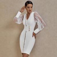Ocstrade Nouvelle arrivée Agrémentée Mesh manches longues Robe Bandage Automne Hiver 2020 Femmes Blanc Bandage Robe de soirée moulante