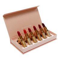 Myg ماتي أحمر الشفاه مجموعة 6 قطع لكل مربع الذهب أنبوب هدية عيد الميلاد هدية ماكياج رصاصة الشفاه مربع