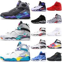 nike air jordan retro 8 8s Top Fashion Jumpman 8 8s Mens scarpe da basket Aqua Nero South Beach White SatinGiordaniaRetro San Valentino formatori Sneakers 7-13