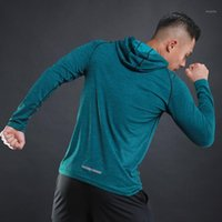 Hooded Laufen Hemd Turnhalle Männer Sport T-Shirt Langarm Sportswear Workout Hemden Männer Sport Top Jersey Fitness Kleidung1