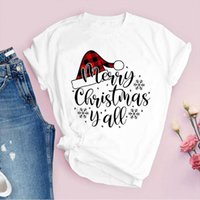 Tees for Women Print plaid hat letters New Year Holiday Chri...