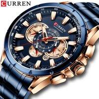 Curren New Herren Uhren Mode Edelstahl Sport Quarzuhr Herren Chronograph Wasserdichte Armbanduhr