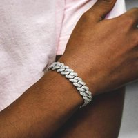 Link, Chain 15mm Classic Cuban Link Iced Out Bling 2 Raw Cz Bracelet For Women Mens Hiphop Fashion Jewelry