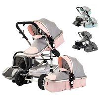 Gezginci # Çok Fonksiyonlu Üç-in-One Hafif Dört Tekerlekli Bebek Arabası Cradle Araba Koltuğu Yıkanabilir1
