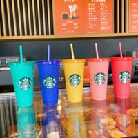 Starbucks 24oz cor altera tumblers plástico transparente bebendo suco de suco com lábio e palha mágica caneca de café Costom cor mudando 5 pcs