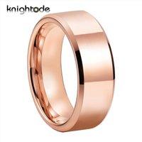 8 mm de haute qualité en or rose de tungstène bande de mariage pour les hommes femmes Bague de fiançailles amant cadeau Polissage Comfort Fit biseautés