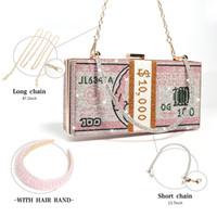 Денежные сумки горный хрусталь с наборами для волос Улучшить для женщин Модный дизайн 2020 Новые Bling Money Countes Rhinestone с повязкой