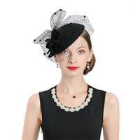 بخيل حافة القبعات المرأة أنيقة فيدورا الأسود fascinator الأزياء الدافئة الصوف فيلت كاب المرأة زهرة الحجاب خمر الزفاف hat1