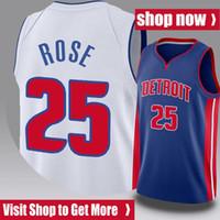 Derrick 25 Basketbol Rose Jersey DetroitPistonJersey Grant 33 Hill Gerileme Isiah 11 Thomas Dennis 10 Rodman Jersey V 21XZ