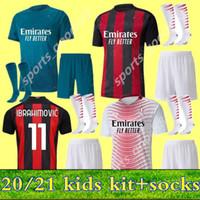 Kids Kit AC 2020 2021 Milan Ibrahimovic Home Выездные 3-го футбольных изделий 20 21 Pietk Packa Theo Rebic Футбольные рубашки Молодежные мальчики Униформа