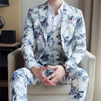Wedding Prom Floral Suits Men Fashion Mens 3 Piece Slim Groom Suits Black and White Printed Tuxedo for Men Jacket+Vest+Pants