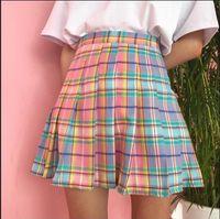 Faldas Spring and Summer College Wind Rainbow Plaid Skirt1