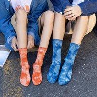 Herren Socken Persönlichkeitspaare Baumwolle Tie-Farbstoff-flache Farbe, die neutrale europäische und amerikanische Straßenstil-Skateboard1