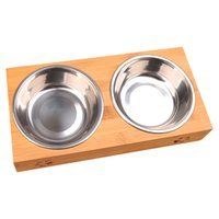 Tableware Non Toxic Cat Double Food Water Stainless Steel Dish Anti Slip Pet Bowl Easy Clean With Stand Dog Splash Proof Feeders Y200917