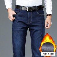 Shan Bao di lusso di lusso di alta qualità inverno inverno jeans caldi classici tascabile ricamo business casual da uomo dritto in forma dritto jeans1
