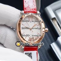 New Happy Sport Oval Happy Diamonds 275362 ETA 2824 Автоматический женский белый циферблат Часы розовое золото красный кожаный женские часы HWRX Hello_watch.