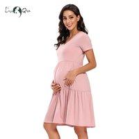 Mulheres Manga Curta Maternidade Vestido V-Pescoço Casual Fluir Túnica Vestido Gravidez Roupas Cintura Alta Cintura Plissada Elegante Dress Encantador LJ201114