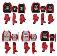 Família combinando 2020 2021 máscara pijama de natal set búfalo xadrez de duas peças roupas crianças blusa pjm + calças noite roupas sleepwear E110301