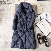 Fitaylor Winter вниз Длинные пальто Женщины Сыпучие 90% утиный Keep Warm ветровки Крупногабаритные отворотом темно-синий пиджак талии пояском 201016