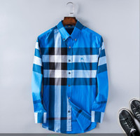2020men Бизнес повседневная рубашка мужская длинная рукава полоса Slim Fit Fit здоровые социальные мужские новая модная клетчатая рубашка% 1226