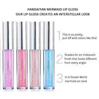 Nueva Handaiyan 6 colores resplandor del brillo del reflejo de la sirena Gloss Labial Líquido Hidratante impermeable metal líquido de larga duración Lip Gloss Lip Balm