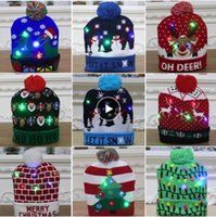 LED Christmas Hats Beanie Sweater Christmas Santa Light Up Knitted Winter Hat for Kid Adult Christmas Party Warmer Cap