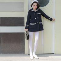 2021 جديد لو قصر الأصلي خمر البحرية موحدة المرأة الصوف سترة الشتاء جودة عالية معطف طويل سميك 72NZ