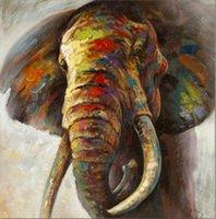 Animal coloré abstrait éléphant avec cadre Unframed Home Décor Artisanats / HD huile d'impression Peinture Sur Toile Wall Art Toile Photos -E201017