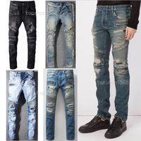 Pantalones para hombre estilista jeans angustiado rasgado biker jean hombres mujeres delgado ajuste motocicleta motocicleta dril de algodón jeans hip hop para hombre jeans tamaño 28-40
