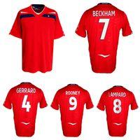 2008 Inglaterra Retro Jersey Jersey Beckham 100th Tampão Lampard Rooney Terry Owen Gerrard Vintage Camisa de Futebol Clássico
