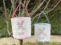 Paskalya Kovası DIY Sepet Sevimli Bunny Sepet Gülümseme Tavşan Karikatür Tuval Saklama Çantası Paskalya Hediye Çantası Yumurta Şeker Totes DB413