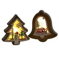 Navidad Iluminada Colgante de madera Árbol de Navidad Campana Regalo Star Diseño Colgante Colgante Feliz Navidad Árbol Colgando Ornamento CCA12579